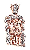 Round Cut Real Diamond Hip Hop Jesus Face Men's Pendant 10K Solid Rose Gold (0.69 Cttw)
