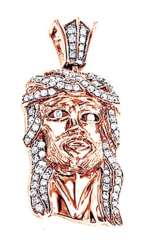Round Cut Real Diamond Hip Hop Jesus Face Men's Pendant 10K Solid Rose Gold (0.69 Cttw) by Wishrocks