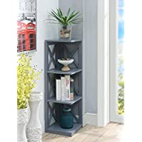 Convenience Concepts Oxford 3-Tier Corner Bookcase, Gray