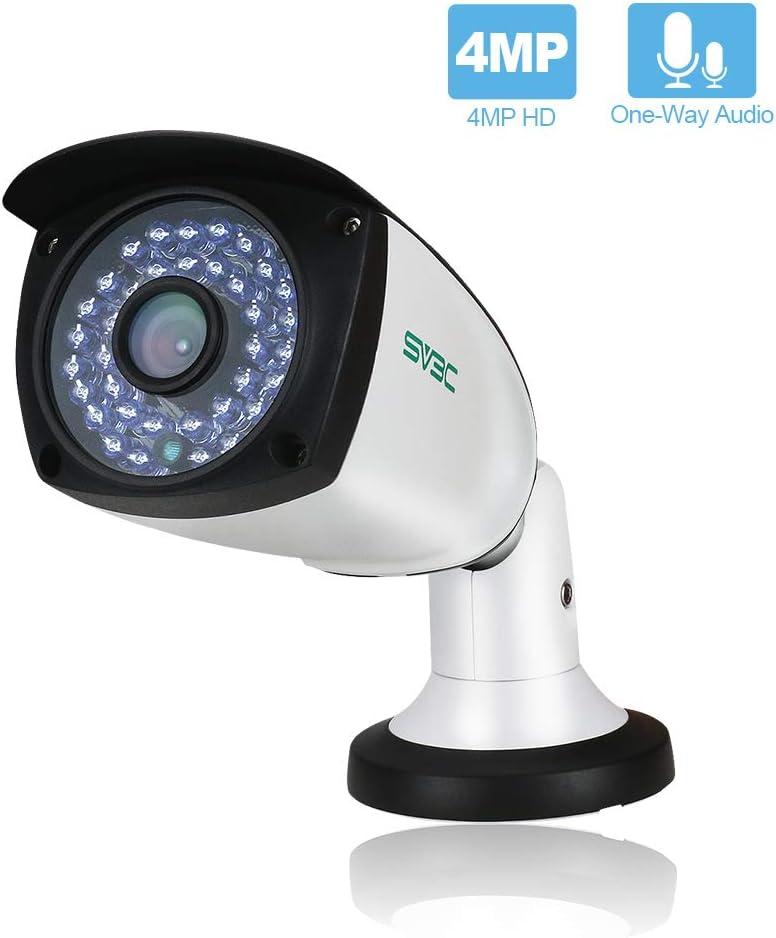 SV3C 4 Megapixels POE IP Camera Outdoor Indoor, 75-115FT Night Light Video ONVIF H.265 Surveillance Home IP Security Camera, Waterproof Outdoor Motion Camera