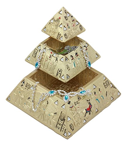 n Pyramid Of The Gods And Deities Stackable Jewelry Box Statue Etched With Ancient Egyptian Hieroglyphs And Mirrors Pyramid Sculptural Decor (Pyramid Box)