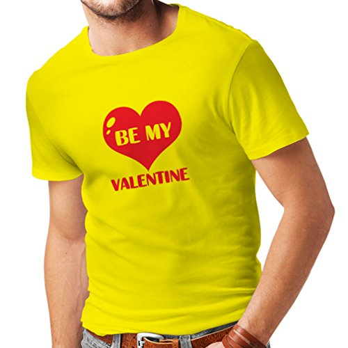 T shirts for men Be my Valentine, quotes about love great gift (Medium Yellow Red)