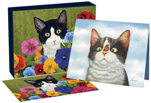 Lang American Cat Deluxe Note Card Set by Lowell Herrero, 5.25 x 4 Inches, 12 Cards and Envelopes -