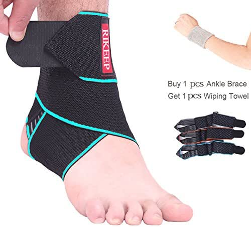 Ankle Support,Adjustable Ankle Brace Breathable Nylon Material Super Elastic and Comfortable One Size Fits all, Perfect for Sports, Protects Against Chronic Ankle Strain, Sprains Fatigue (blue)