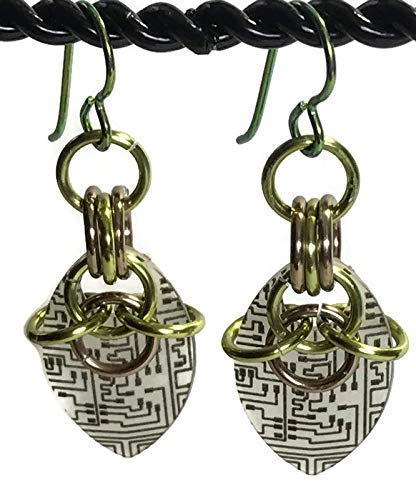 Handmade Circuit Board Earrings Glow in the Dark (Green Set)