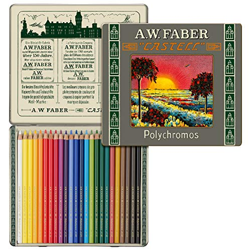 Faber-Castell Polychromos 111th Anniversary Limited Edition Wood Colored Pencil Tin - 24 Colors