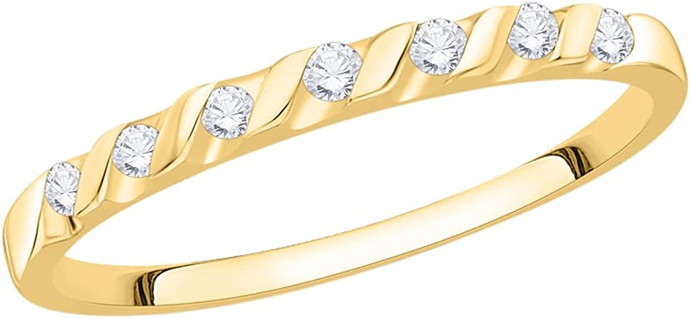 1//10 cttw, Size-12 G-H,I2-I3 Diamond Wedding Band in 14K Yellow Gold