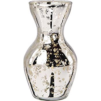 Luna Bazaar Mini Vintage Mercury Glass Vase (4.5-Inch, Adelaide Cone Top Design, Silver) - Decorative Flower Vase - For Home Decor, Party Decorations, and Wedding Centerpieces