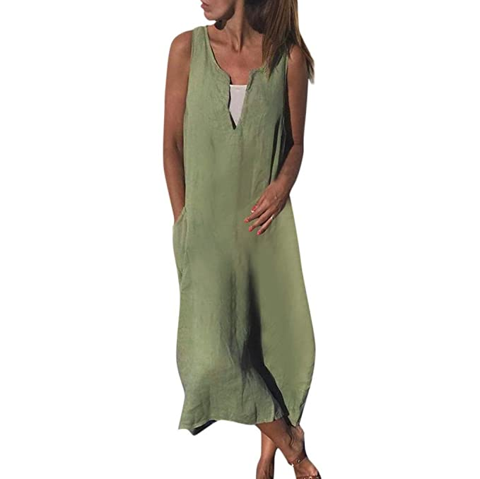 Amazon.com: Womens Vintage Linen Dresses,Summer Ladies Beach ...