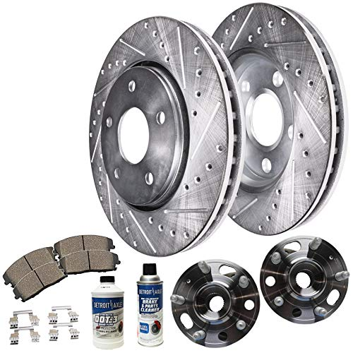 Bearing Hub Ceramic - Detroit Axle - REAR Wheel Bearing Hubs, Drilled and Slotted Brake Rotors w/Ceramic Pads for 11-16 Buick Regal - [10-16 LaCrosse] - 10 Allure - [13-15 Malibu] - 13-16 Cadillac XTS