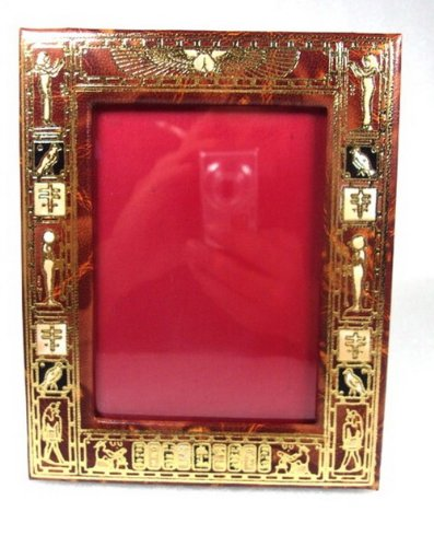 Egyptian Photo Picture Frame Genuine Hand Made Leather Handcrafted Ethnic 221