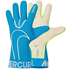 Nike Goalkeeper Mercurial Touch Elite Gloves - Blue-White 10 The Nike Goalkeeper Mercurial Touch Unisex Football Gloves feature ACC foam for shot absorption and enhanced grip in all conditions. Its reverse-stitched gusset wraps around the han...