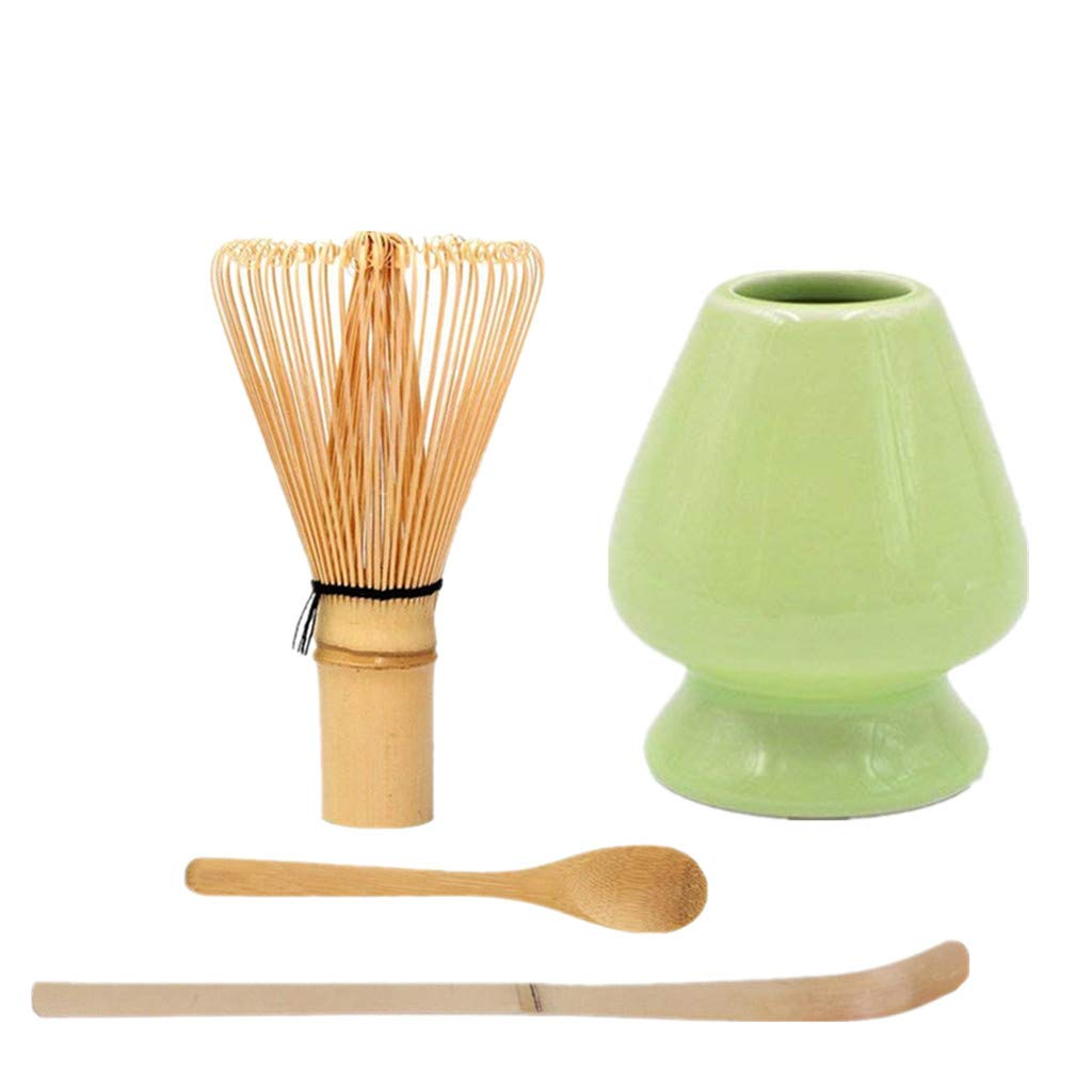 Japanese Matcha Tool Set Bamboo Scoop,Bamboo Spoon,Bamboo Whisk,Ceramic Whisk Holder Fit for Tea Ceremony Use (Green)