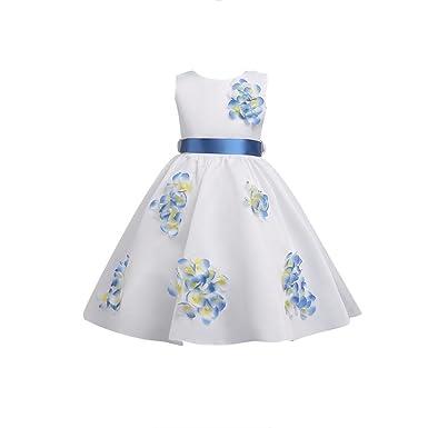 YuanDian Girls Princess Dresses Flowers Cute Sleeveless Bow Tie Party Birthday Christmas Childrens Formal Dresses Swing