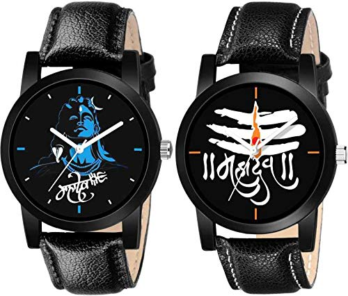 RPS FASHION WITH DEVICE OF R Quartz Movement Analogue Black Mahadev Dial Men's Watch -Combo Set of 2