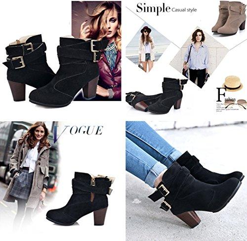 Gaorui Women's Buckle Strap Block Heel Ankle Booties Heeled Zipper Boots Beige uY3P2Yv65X