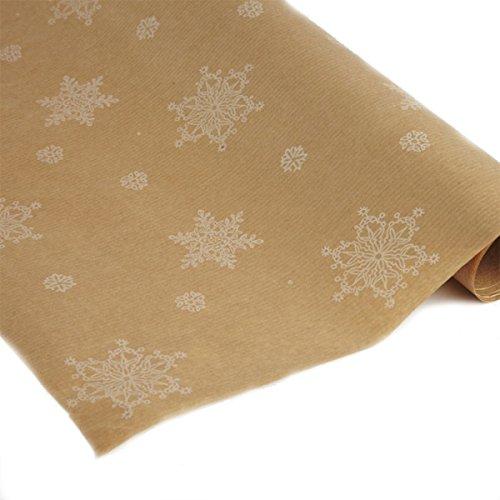 FloristryWarehouse Kraft Paper 50cm x 100m printed white Christmas snowflake pattern
