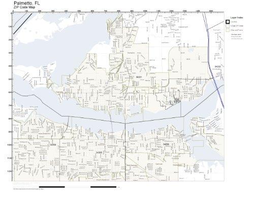 Palmetto Florida Map.Amazon Com Zip Code Wall Map Of Palmetto Fl Zip Code Map Not