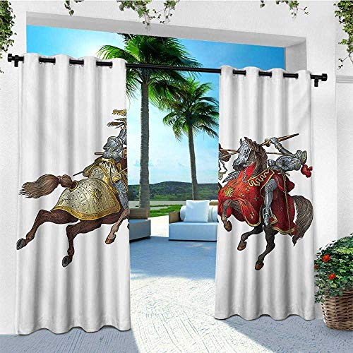 leinuoyi Medieval, Outdoor Curtain Set, Middle Age Fighters Knights with Ancient Costume Renaissance Period Illustration, for Patio W108 x L108 Inch Multicolor -