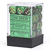 Chessex Dice d6 Sets: Gemini Black & Green with Gold - 12mm Six Sided Die (36) Block of Dice