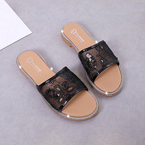 Mules Schwarz Slipper Hausschuhe Bequem mit Absatz Outdoor Damen Schuhe Mesh Strandschuhe HKFV Air Pantoletten Sandalen Flache Indoor qpxCtHaw