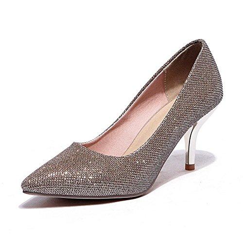 BalaMasa Girls Pointed-Toe Glitter Pearl Fabric Pumps-Shoes Gold brS2dI
