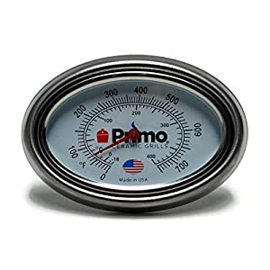 Primo Grill Thermometer and Bezel Combo for Primo Ceramic Grills - Now 200% Larger and Ability to Calibrate