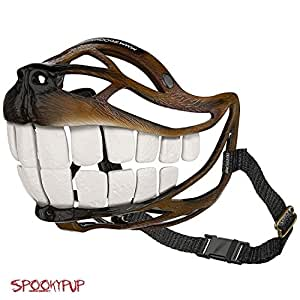 SpookyPup Hilarious Halloween Dog Costume Muzzle with Large Teeth – Turn Your Dog into a Fun-loving, Cute and Happy Friend (Large)