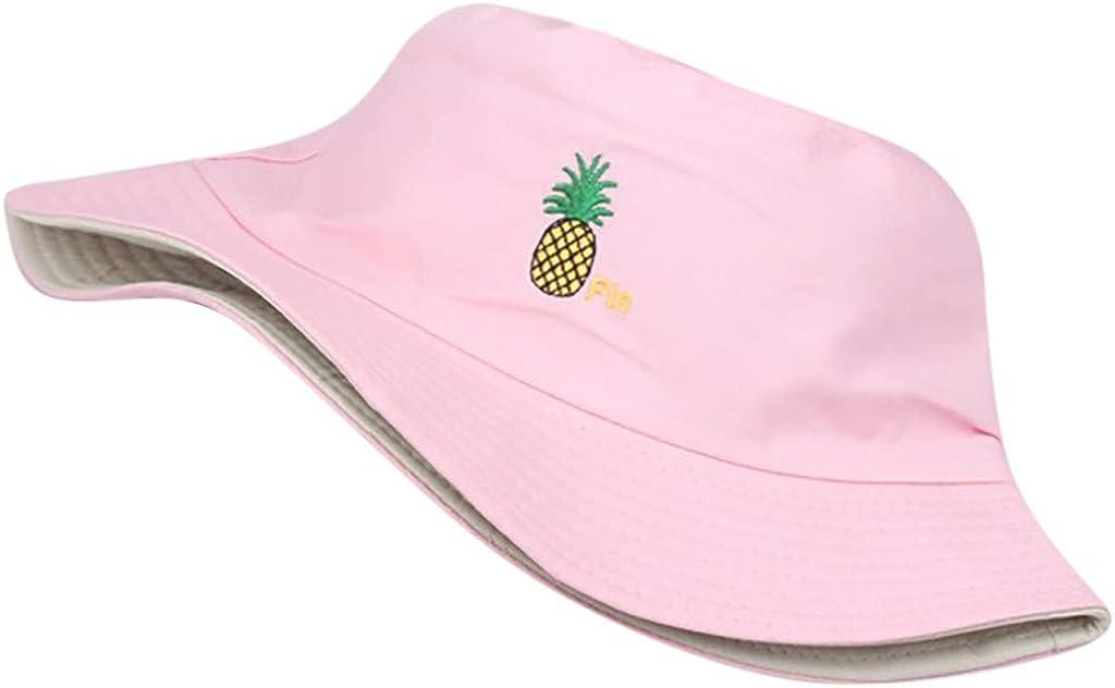 VECOLE Fischerhut Ananas Stickerei Flat Top Sonnenhut Outdoor Reise Sonnenhut Fischerhut Breite Krempe Faltbarer UV Schutz