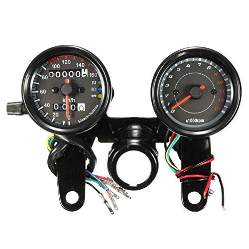 AUDEW Universal Motorrad Drehzahlmesser Tacho Tachometer Entfernungsmesser mit Halterung