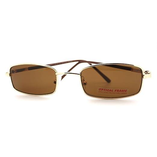 dd9004c963798 Small Rectangular Sunglasses for Men Women Metal Rim Lenses New Brown