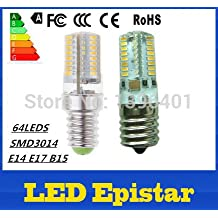 led lamp bulbs E14 b15 e17 7w 64LEDS SMD3014 LED light lamp 85-265V 220V 110V 240V Cold/warm White bulb Silicone Crystal (Cole White/7W E14)