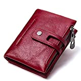 Showtime Red Leather Zipper Pocket Wallets for Men Leather Minimalist, Man Pocket Purse