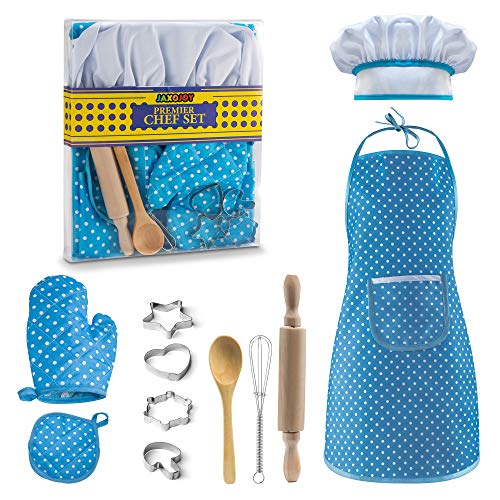 JaxoJoy Complete Kids Cooking and Baking Set - 11 Pcs Includes Apron for Little Boys, Chef Hat, Mitt & Utensil for Toddler Dress Up Chef Costume Career Role Play for -