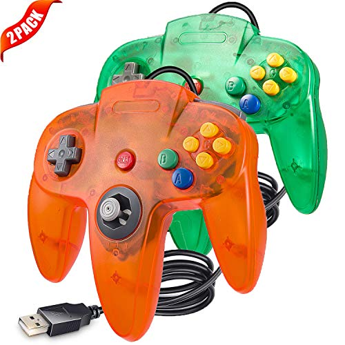 LUXMO PREMIUM Classic N64 USB Controllers Gamepad Joystick for Windows PC Mac Linux Raspberry pi3 Genesis Higan Retro Pie (Green/Orange)