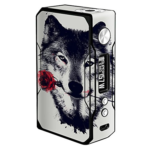 Skin Decal Vinyl Wrap for Voopoo Drag 157W TC Resin/Reg. Vape Mod Skins Stickers Cover / Wolf with rose in mouth