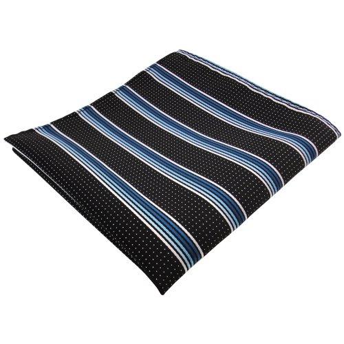 pochette en turquoise bleu argent blanc noir rayé - tissu 100% Polyester