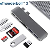 """USB C Hub, ALLEASA 2018 MacBook Pro Type C Adapter with Thunderbolt 3 Hub 5K@60Hz, USB C Power Delivery, 2 USB 3.0, SD/Micro/TF Card Reader for 13""""&15"""" MacBook Pro 2016/2017 Plug and Play"""
