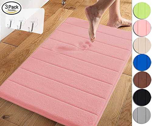 Yimobra Memory Foam Bath Mat Large Size 31.5 by 19.8 Inch,Maximum Absorbent,Soft,Comfortable,Non-Slip,Easier to Dry for Bathroom,Coral (Presented Wall Hooks 3 Pack) (Pink Bath Mat)