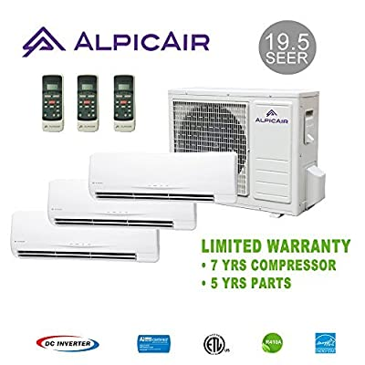 AlpicAir +Multi Tri-Zone Ductless Mini-Split System 27,000 BTU Inverter Heat Pump (9k+9k+18k)