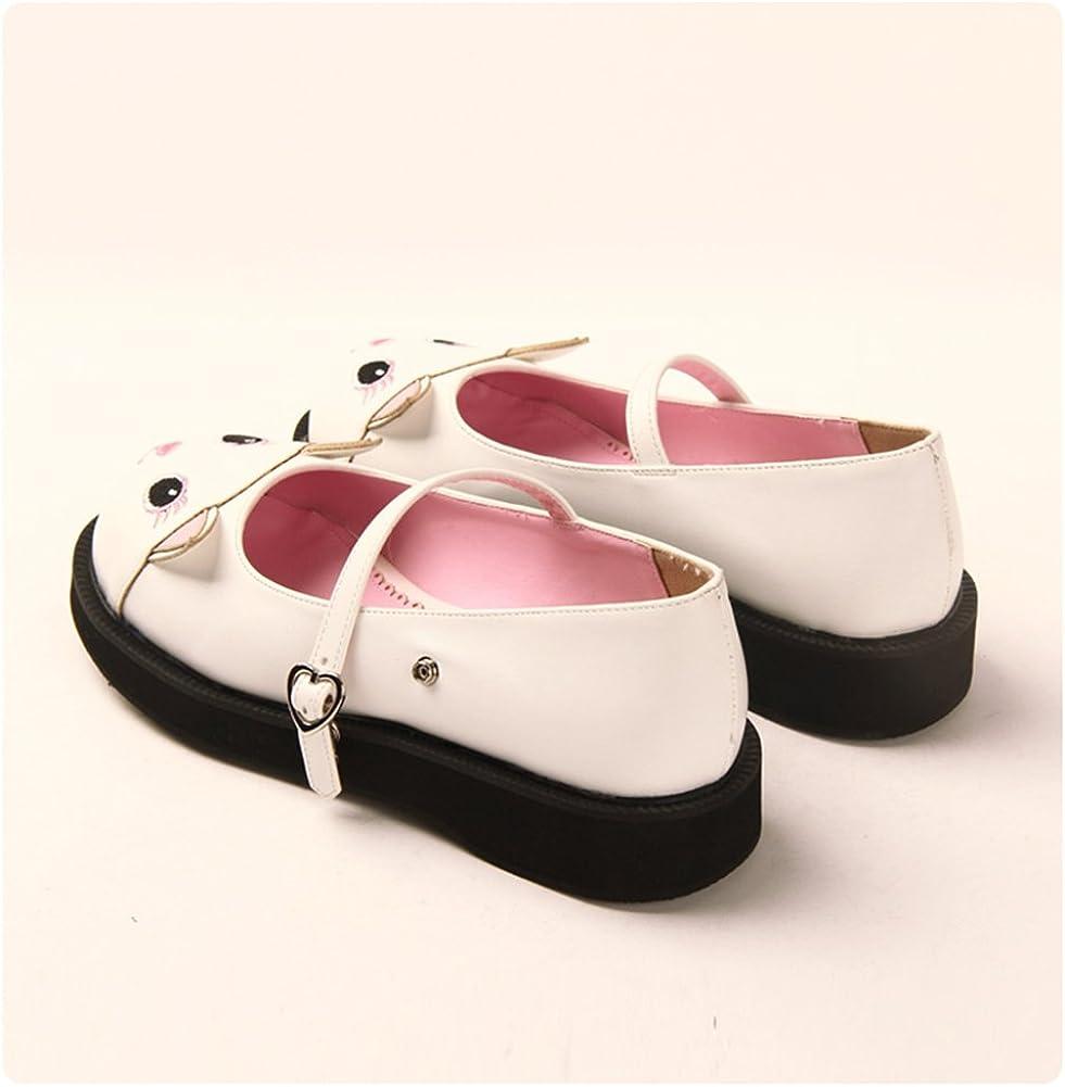Angelic imprint Japanese Sweet Lolita Shoes Kawaii Kitty Round Toe Mary Jane Flat Shoes for Girls
