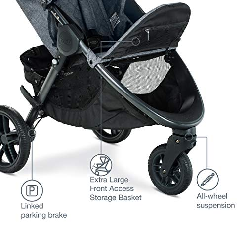 51Rz1iIAl9L - Britax B-Free Travel System With B-Safe Ultra Infant Car Seat - Birth To 65 Pounds | All Terrain Tires + Adjustable Handlebar + Extra Storage With Front Access + One Hand, Easy Fold, Vibe
