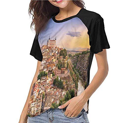 familytaste Raglan Baseball Tee Short Sleeve,Wanderlust,Toledo Spain Old City S-XXL(This is for Size Large),Women Fashion Shirts -