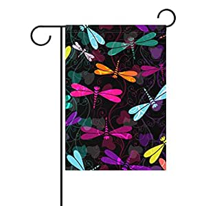 Duble Sided Colorful Vintage Curls Dragonflies and Translucent Polyester House Garden Flag Banner 28 x 40 Inch for Anniversary Family Garden Decor