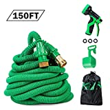 PatioPro 150ft Garden Hose Set All New Water 3/4 Solid Brass Fittings, Flexible Expanding, Bonus A 9-Pattern Sparyer, A hanger And A Storage Bag, Green