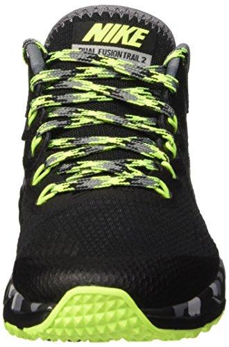 Nike Mens Dual Fusion Trail 2 Scarpa Da Corsa Nero / Volt / Grigio Lupo