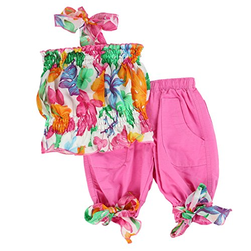 LELEFORKIDS Toddlers and Girls Chiffon Halter Capri Set | Poppy Prescott's in Precious Pink - Set Halter Capri