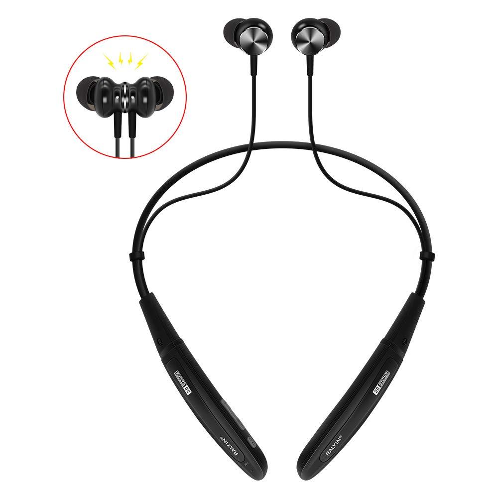 Ralyin Bluetoothヘッドフォン ネックバンド MP3プレーヤー 磁気スポーツワイヤレスイヤホン 8GB microSDメモリーカード内蔵 マイク付きウェアラブルヘッドセット ランニング ジム ワークアウト 防水イヤホン コードレス (ブラック)   B07N2DW9LD