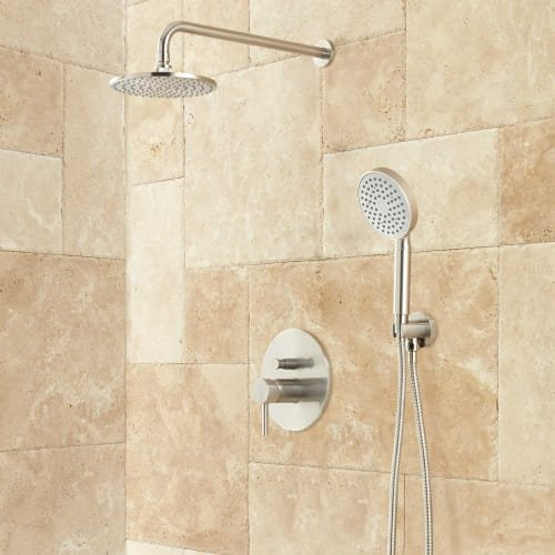 Signature Hardware 416163 Lattimore Shower System with Rainfall Shower Head and Hand Shower - Rough In Included from Signature Hardware