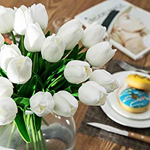 """CountryGrass 24pcs Artificial Tulip Flowers Real Touch PU Tulips Floral Arrangement Yellow White Pink 14"""" for Wedding Home Centerpiece Decoration Hotel Party Decoration (White) 2"""
